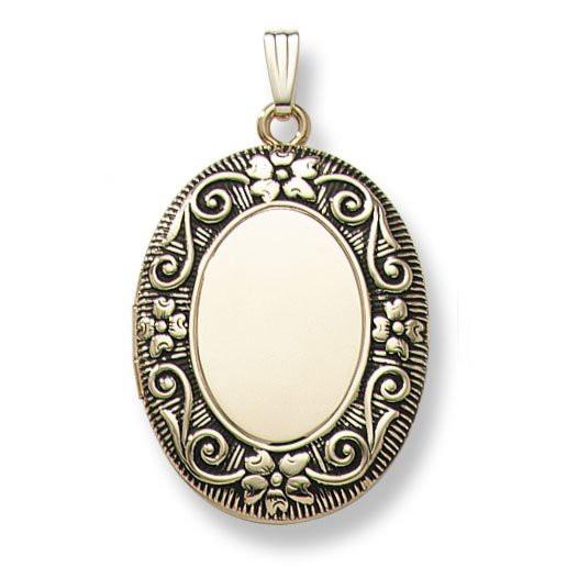 personligt smykke til hende oval guld medaljon