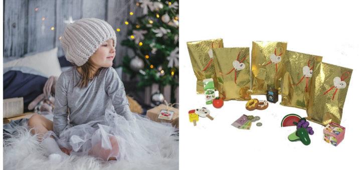 julekalender med legemad, pakkekalender med legemad, adventskalender med legemad, julekalender til piger 2018, julekalender med trælegetøj, julekalender til piger 2018, julekalender til børn 2018, julekalender med legetøjsmad, årets julekalender til børn 2018, alletiders gave, gaveinspiration, færdige pakkekalendere til børn