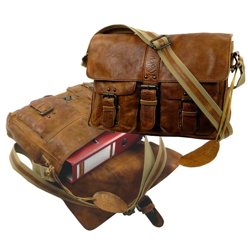 skuldertaske computertaske i skind arbejdstaske i læder cognac farvet feminin computertaske
