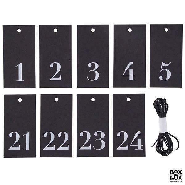 inspiration til pakkekalender indpakning af kalendergaver julekalender 1-24 kort sort