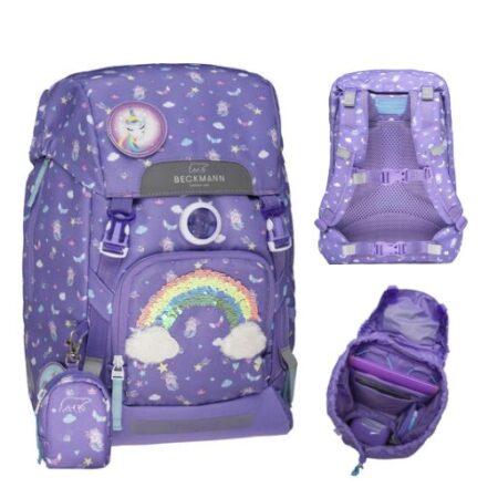 beckmann skoletaske gave til skolestart gave til første skoledag lilla skoletaske med palietter