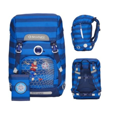 gave skolestart gave til skolebarn skoletaste til skolestart gave til skoleelev blå fodboldskoletaske beckmann skoletaske til dreng 0 klasse